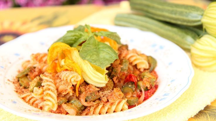 Nonna's Pasta with Zucchini & Tuna - Laura & Nonna - Laura in the Kitchen  zucchini, tuna and special ingredients: zucchini flowers and breadcrumbs!