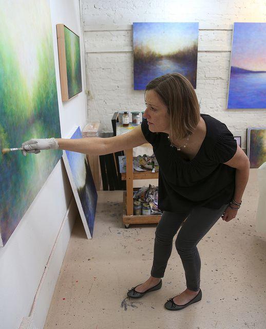 Victoria Veedell Painting in the studio