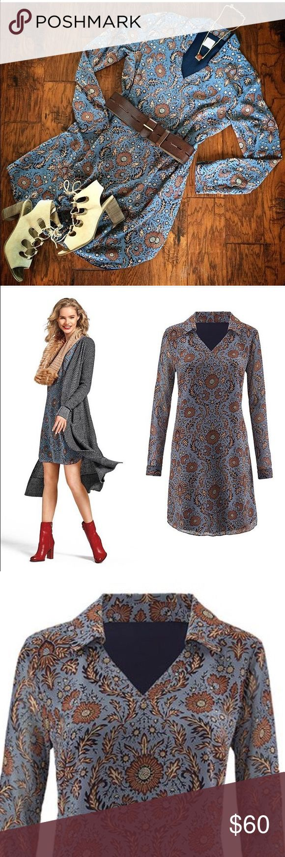 NEW Cabi Provincial Dress 👗 Fall '16 bestseller Super cute shift dress with flattering v-neck collar and sheer sleeves. In a gorgeous blue boho print. Looks amazing over tights and riding boots or paired with skinny denim and heels CAbi Dresses Long Sleeve