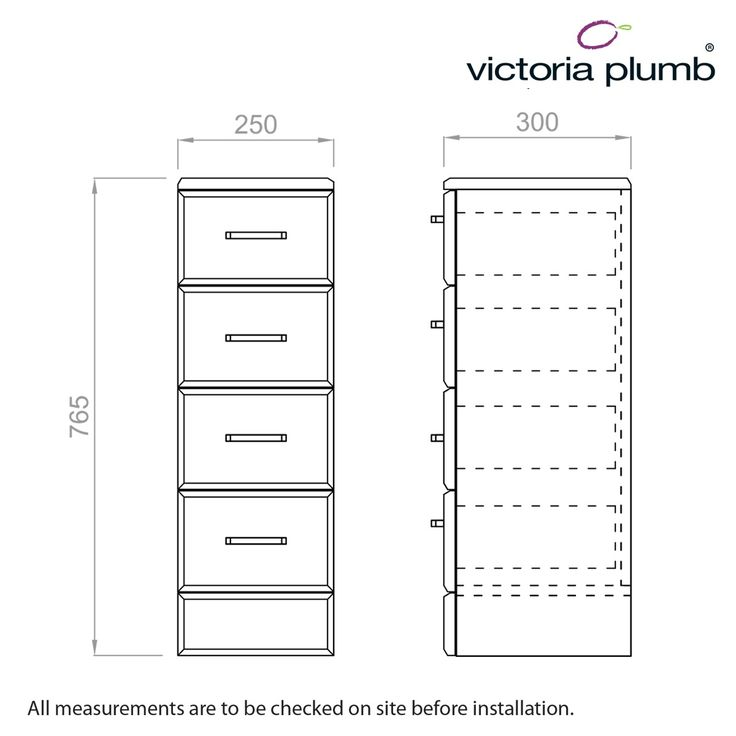 Sienna White Multi Drawer Unit 300 - Victoria Plumb