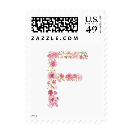 F Initial Floral Monogram Postage Stamp - bridal shower wedding marriage party bride idea