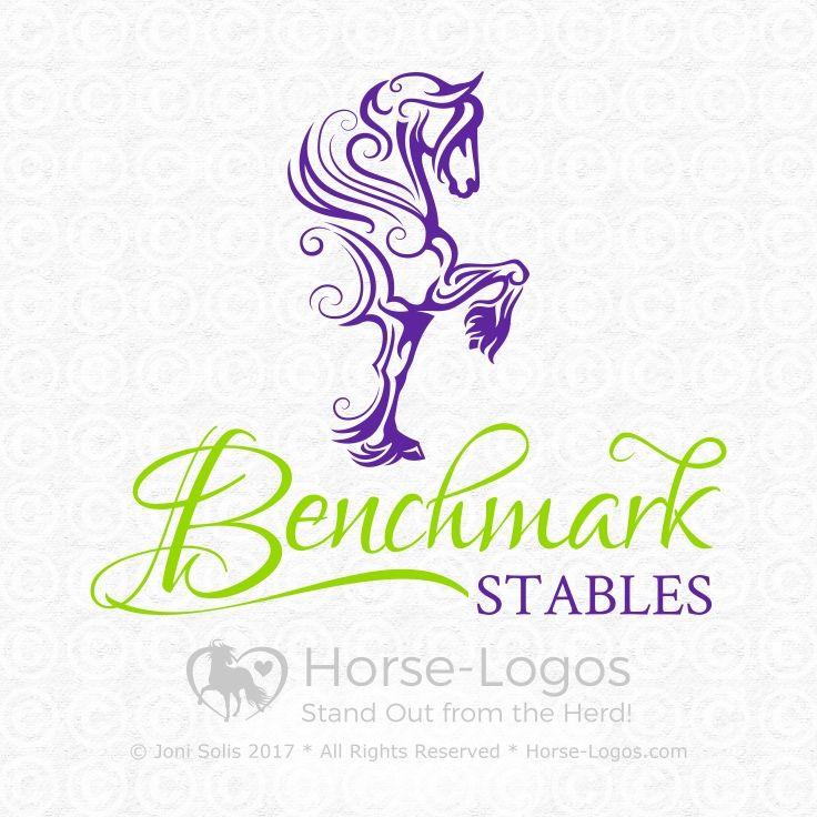 This #horselogo has been SOLD to Benchmark Stables. Logo Designer: Joni Solis at Horse-Logos.com