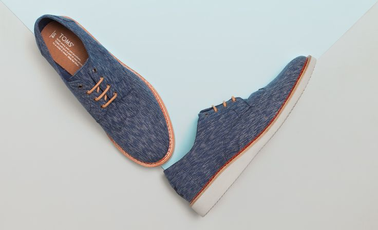 Cool blue and classy. Go formal with brogues from TOMS.