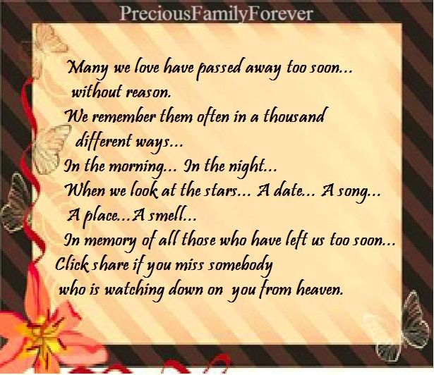 Precious Family: Many We Love Have Passed Away Too Soon