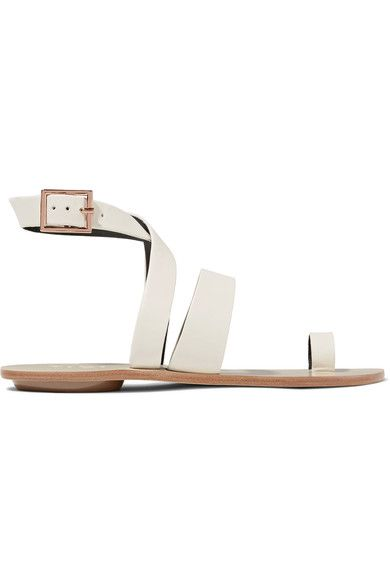 Heel measures approximately 20mm/ 1 inch Ivory leather Buckle-fastening ankle strap
