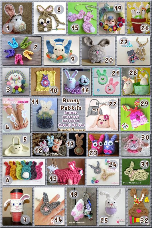 32 Creative Bunny Rabbit Accessories – via @beckastreasures with @CrochetRochelle | 11 Easter Animal Crochet Pattern Round Ups!