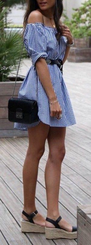 #summer #fashion / blue stripes