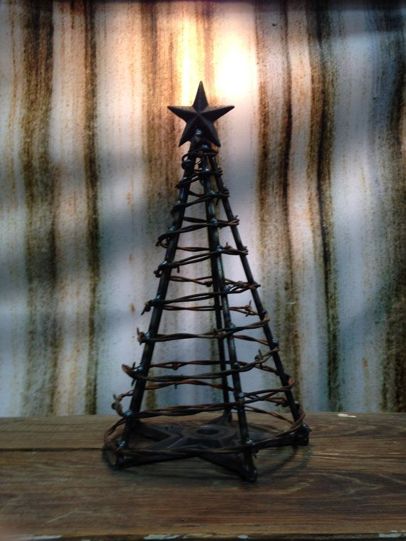 Nothing says happy holidays like a Barbed Wire Christmas Tree by mtfarmersdaughter on Etsy