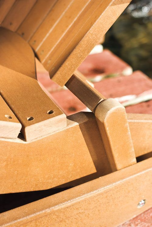 Template for a folding, rocking Adirondack chair made out of composite wood. Perfect for camping!