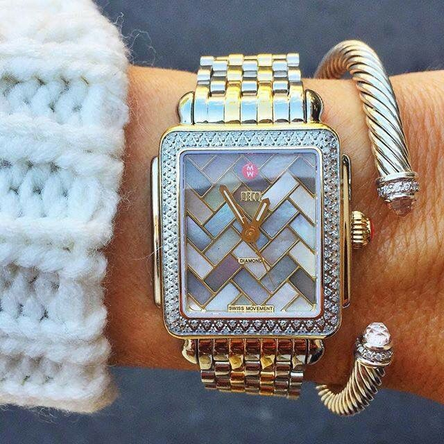 Michelle 'Deco 16 Diamond' Two-Tone Watch Case, 29mm x 31mm and the 16mm two-tone bracelet watch band- GORGEOUS