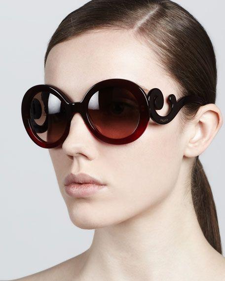 Prada - Baroque Round Sunglasses, Red