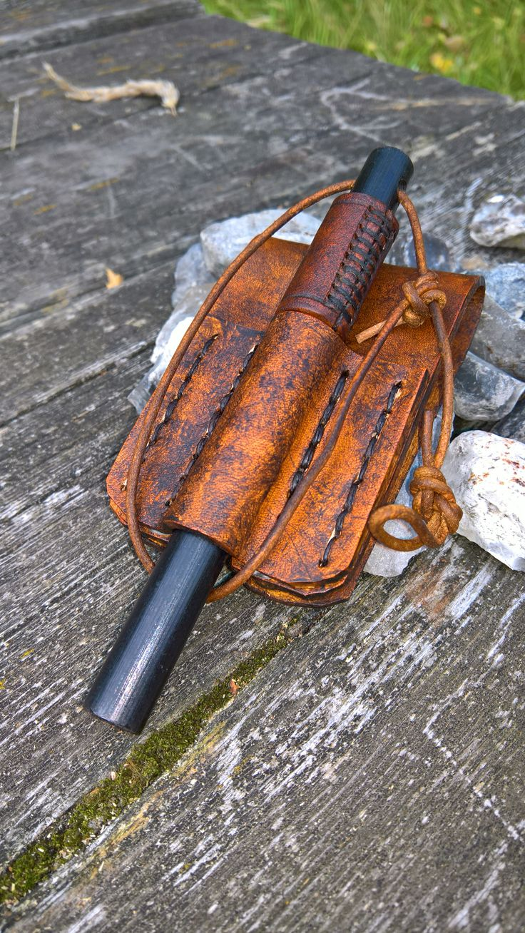 "Keeps the BIG 6"" ferro rod in reach when I need it. Sites on my belt in a new holster that matches the leather handle that gives it a nice grip when lighting a fire."