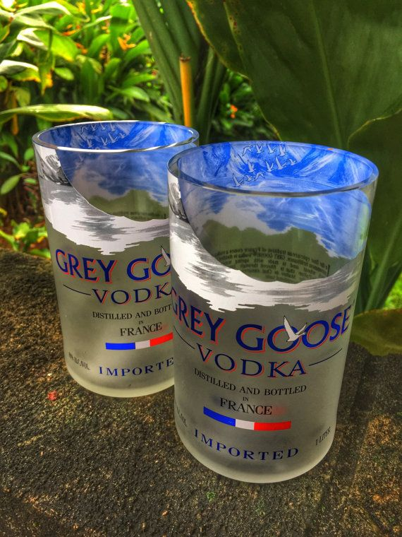 Grey Goose Glasses made from 1 Liter Grey by CupcycleGlassWorks