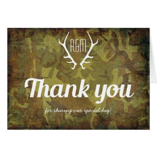 military wedding thank you cards camo rustic stag monogram army thank you card - Military Wedding Invitations