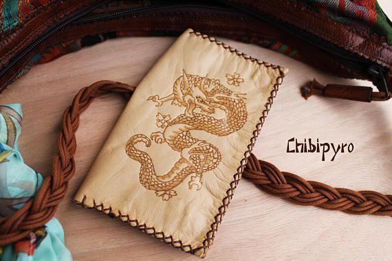 Handmade leather tobacco pouch Dragon   #chibipyro #artisan #craft #shop #leather #wood #woodburning #fire #fan #art #artisan #craft #handmade #etsy #shop #pyro #pyrography #burn #burning #fire #drawing #woodburner #cork #recycled #purse #comb #hairbrush #note #book #sketch #tobacco #pouch #bookmark #pochette #box #pencil #case