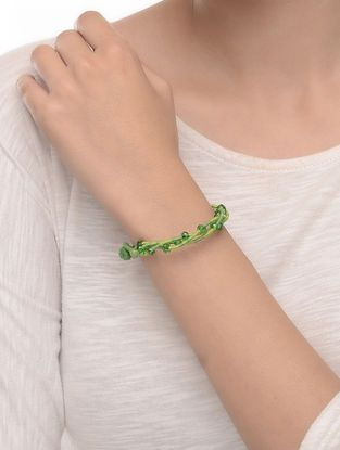 Green Hand-knotted Crystal Beaded Bracelet