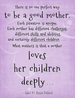 Great wisdom for moms. Every one of us is different, but one thing is the same.