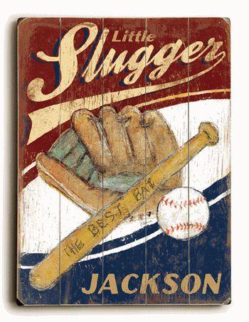 Personalized Little Slugger wood sign.    -EverythingBaseballCatalog.com