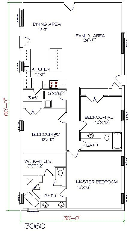 barndominium floor plan 3 bedroom 2 bathroom 30x60