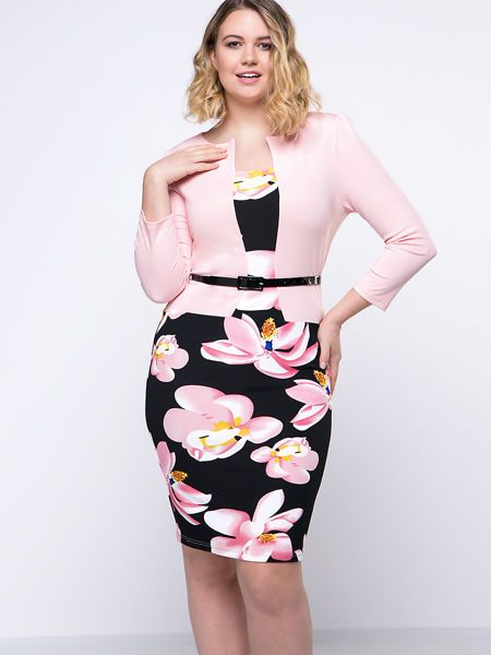 Buy Charming Belt Floral Printed Fake Two-Piece Plus Size Bodycon Dress online with cheap prices and discover fashion Plus Size Bodycon Dresses at Fashionmia.com.