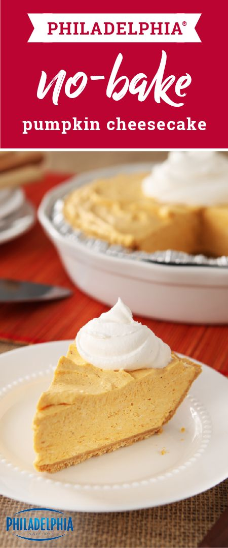 PHILADELPHIA No-Bake Pumpkin Cheesecake – Pumpkin, fall's golden child, is blended into a delectable autumnal dessert, all without turning on the oven. Pumpkin, cheesecake, no-bake. Enough said for this star holiday recipe.