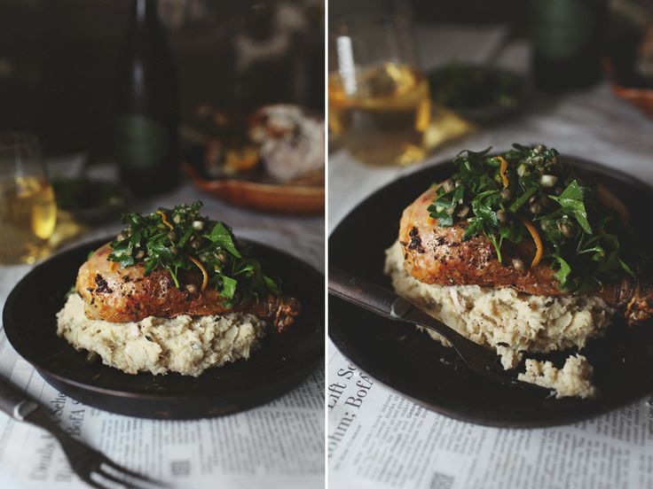 Herb Roasted Chicken with Truffled Cauliflower Mash & Lemon-CaperGremolata / Roost
