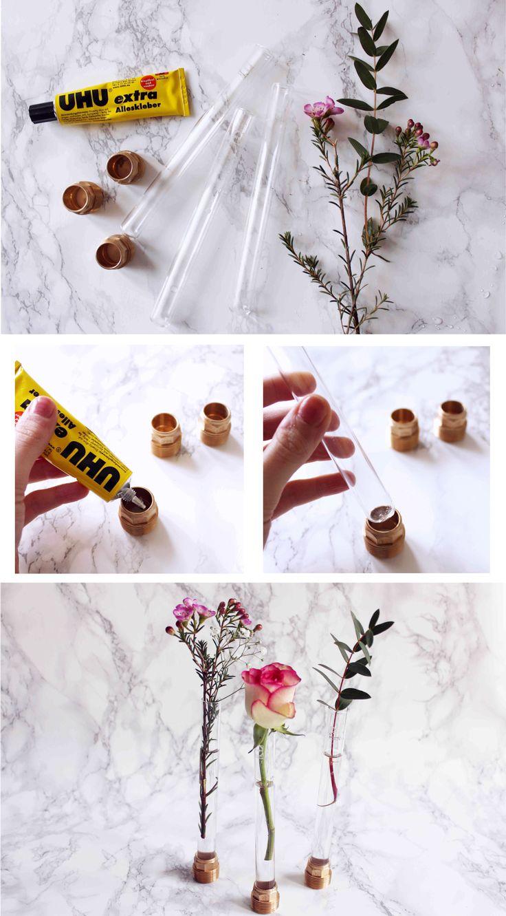 Ihr wolltet schon immer wissen, was man tolles aus Reagenzgläsern basteln kann? Ich zeige euch im heutigen DIY Tutorial Reagenzglas Vasen zum Selbermachen!