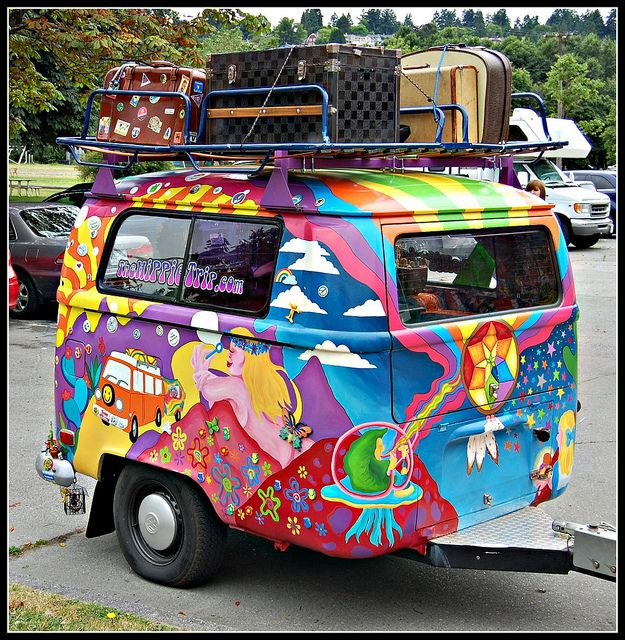 Peter Max VW Trailer.  Imoractical yet so fun I had forgotten about Peter Max!  I loved his art in the 60's!