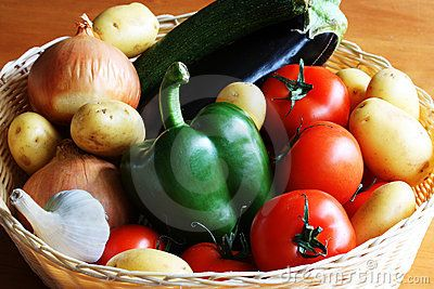 A close up of a basket full of vegetables