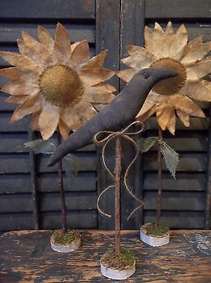 Pair of Primitive Handmade Sunflowers and Crow on Birch Branch Rounds