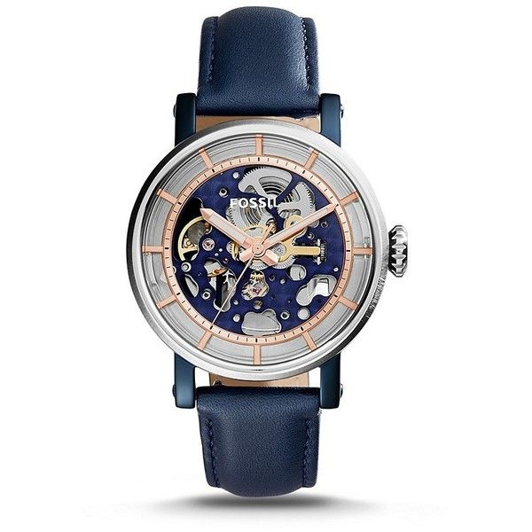 Fossil Original Boyfriend Automatic Blue Leather Watch ($195) ❤ liked on Polyvore featuring jewelry, watches, fossil wrist watch, leather jewelry, bezel watches, blue jewelry and see through watches