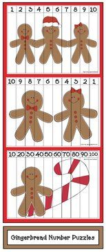 Gingerbread activities: FREE gingerbread-themed number puzzles.