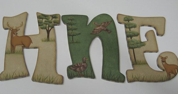 Camo Hunting Baby Nursery Custom Handpainted Wall letters  by cosseycreations, $18.98