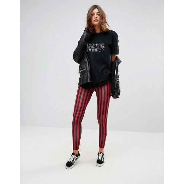 ASOS Leggings in Stripe ($29) ❤ liked on Polyvore featuring pants, leggings, multi, stripe pants, striped leggings, stretch waist pants, wetlook leggings and striped trousers