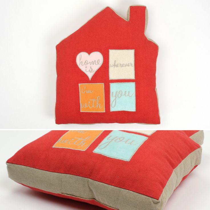 Almofada Valentim Casa Vermelho 45 x 49 cm | A Loja do Gato Preto | #alojadogatopreto | #shoponline | referência 26867682