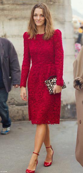 ravishing red Valentino- Paris Street Style