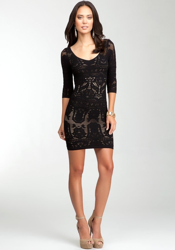 Bebe black lace overlay v neck kardashian dress collection
