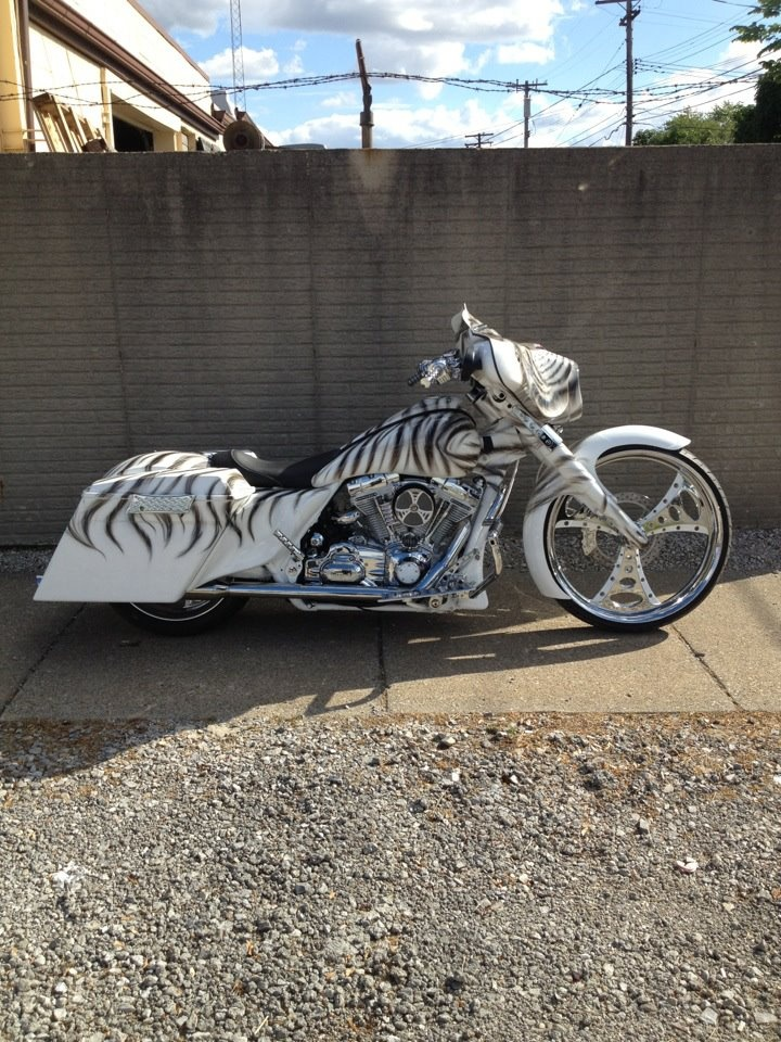 """Detroit Choppers. Custom bagger with a 26"""" front wheel."""