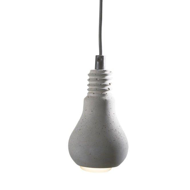 Edison (kunststof snoer) - Leuk hanglampje van beton, met zwart snoer, van de Zweedse vormgeefster Tove Adman.