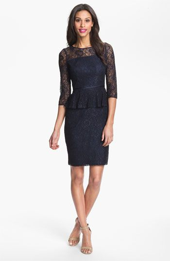 peplum lace sheath dress