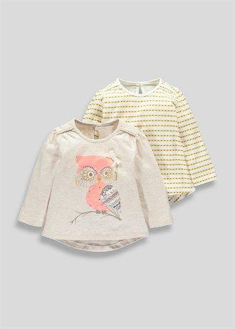 Girls 2 Pack Owl Design Tops (3mths-5yrs)