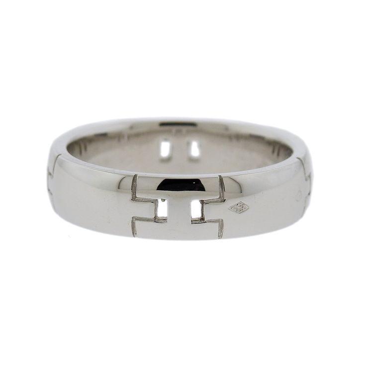 Hermes Hercules H 18k Gold Band Ring