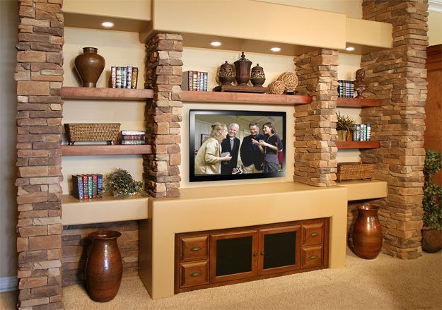 20 best images about media wall on pinterest fireplaces for Media wall design