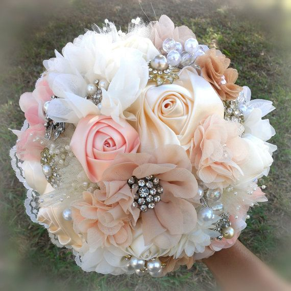 SALE - Romantic Brooch Bouquet, Fabric Flower and Brooch Bouquet -  Ivory, Blush, Peach, Champagne, Cream, Tan Bouquet,