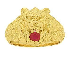 Kingstars-bijoux-Anello chevalier, completamente in oro giallo 750/1000 18 k , a forma di testa di leone con rubino