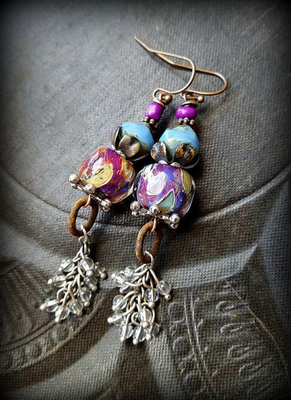 Lampwork Glass, Czech Glass, Vintage Fringe, Earthy, Ethereal, Primitive, Organic, Rustic, Beaded Earrings