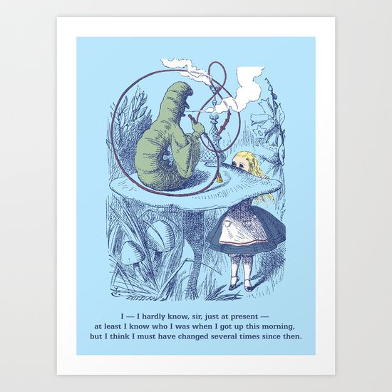 $12.58, sky blue, navy blue, Alice, vintage, Victorian, 19th century, engraving, color, Alice in Wonderland, children's book, illustration, classic, mushroom, caterpillar, smoking, hookah, quote, John Tenniel