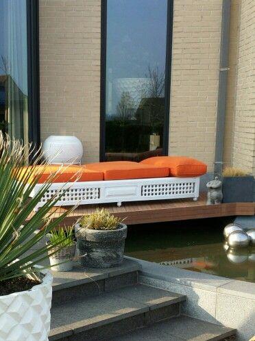Made by me...  Marokkaans bed voor buiten en zitplaats boven vijver (1)