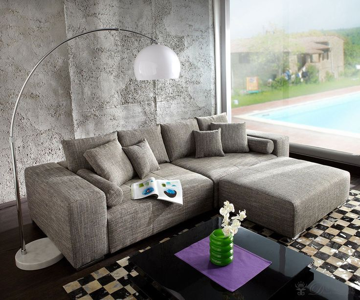 DELIFE Big-Sofa XXL Marbeya 290x110 Hellgrau Hocker Schlaffunktion, Wohnlandschaften 6061-5546-0