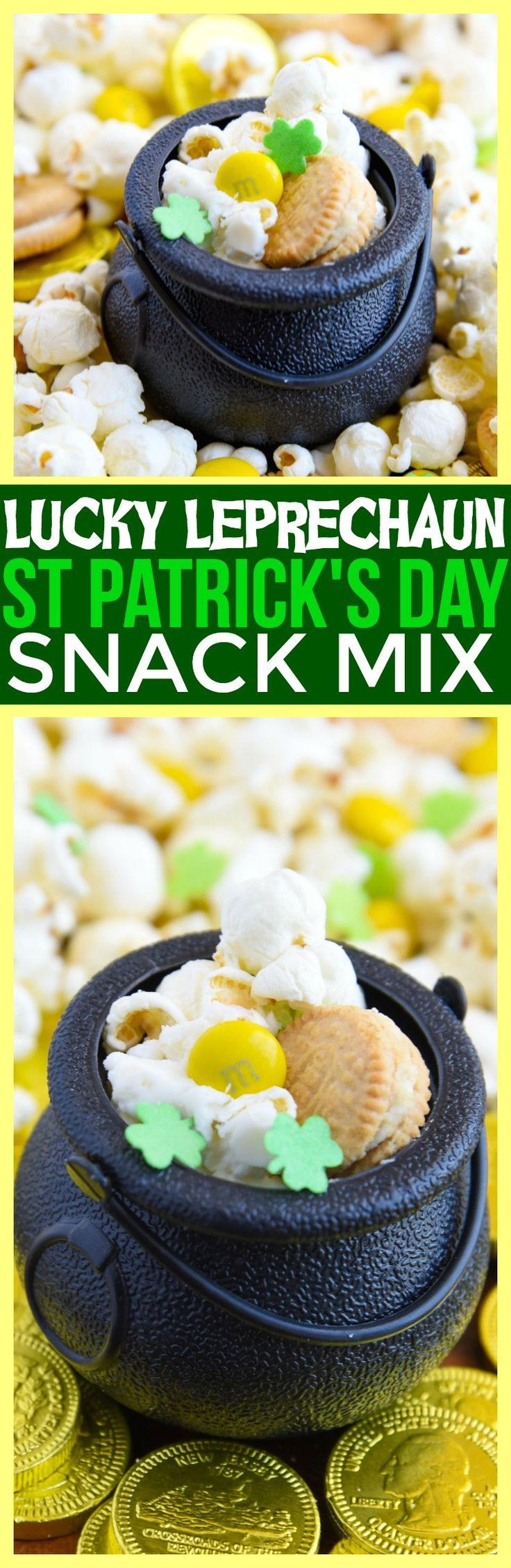 St Patrick's Day Snack Mix St Patrick's day snacks for kids st patricks day food leprechaun trap for kids Mini Chef Mondays cooking with kids via @CourtneysSweets